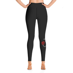 Crazy for Roses Yoga Leggings in Black