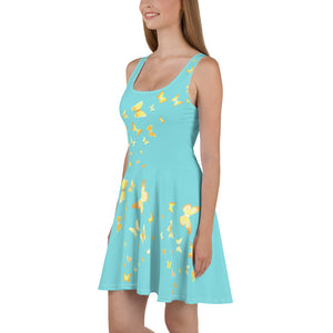Butterfly Happiness Skater Dress-Teal