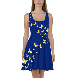 Butterfly Happiness Skater Dress-Blue