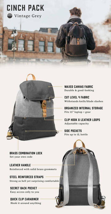 LOCTOTE Cinch Pack - World's Most Secure Backpack