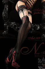 Sheer Fetish, Ballerina brand luxury hosiery. Featuring black hold ups with a sexy red suspender image printed on the hosiery! Very seductive.