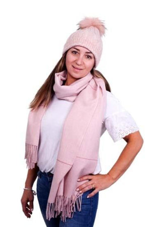 Pink Cableknit Hat with Pompom