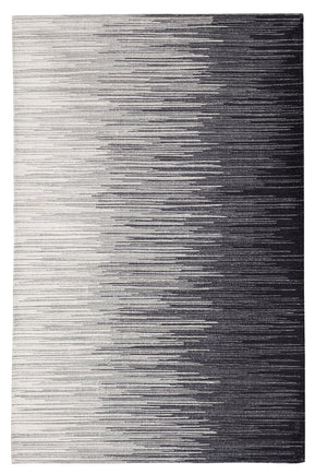 Midnight Black and White Washable Rug