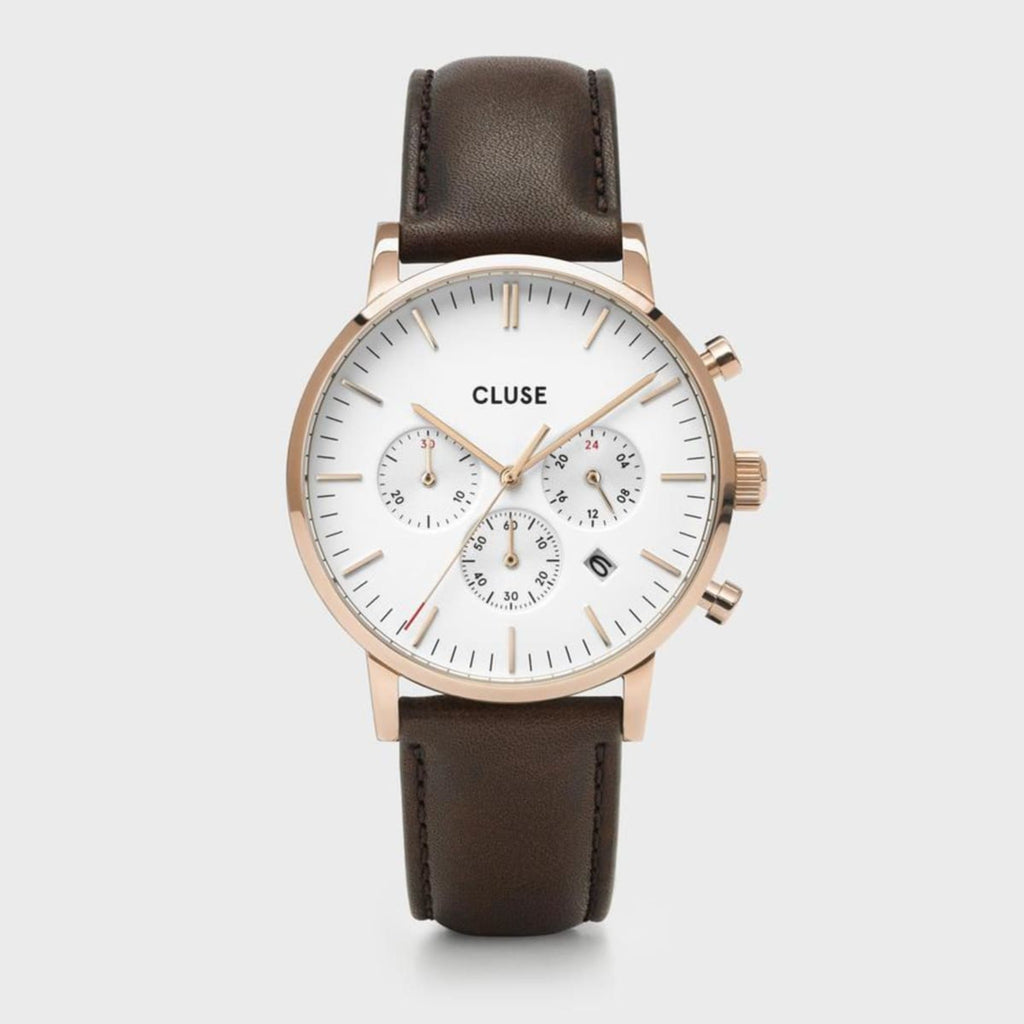 Aravis Chrono Leather Watch, White & Rose Gold