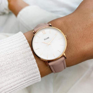 Minuit Pink Leather Watch, Rose Gold/White