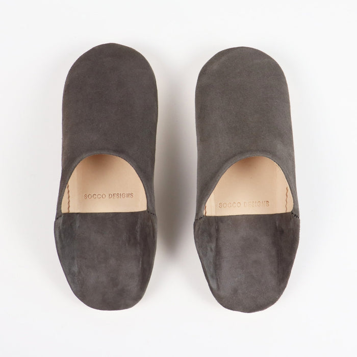 Suede Slippers, Charcoal