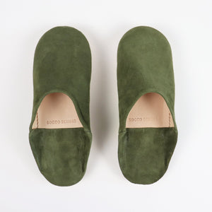 Suede Slippers, Olive