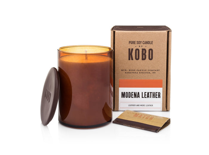 Woodblock Candle, Modena Leather