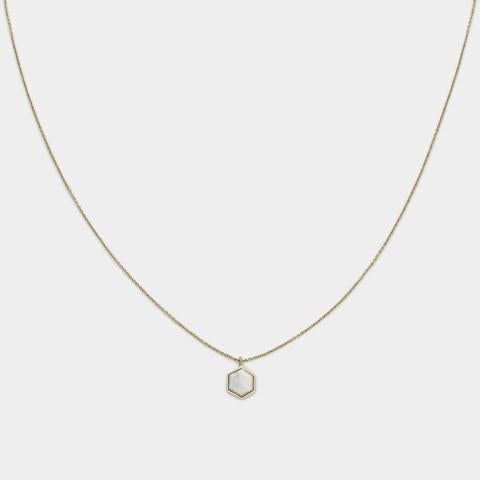 Idylle Marble Hexagon Pendant Necklace, Gold
