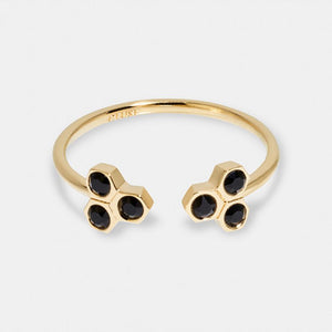 Essentielle Black Crystal Ring, Gold