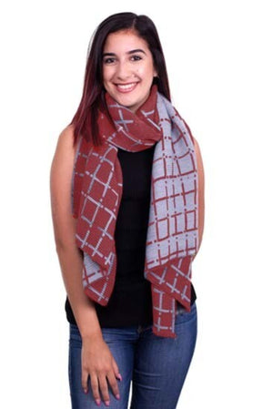 Frances Scarf, Burgundy and Gray
