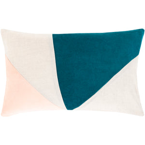 Geometric Pillow, Peach and Teal