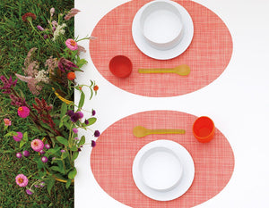 Plynyl® Mini Basketweave Oval Placemat, Guava