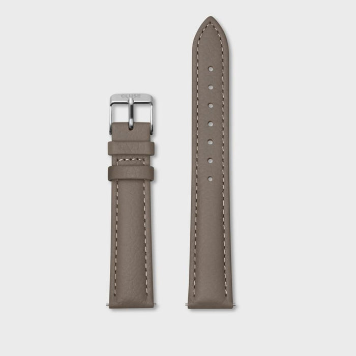 Leather Watch Strap 16mm, Taupe & Silver