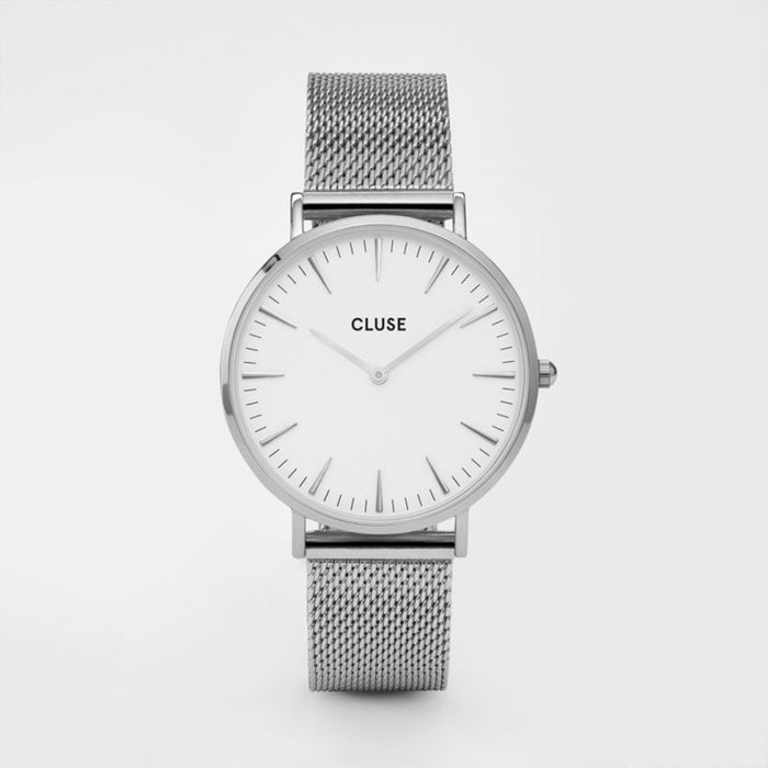 Boheme Mesh Watch, Silver & White