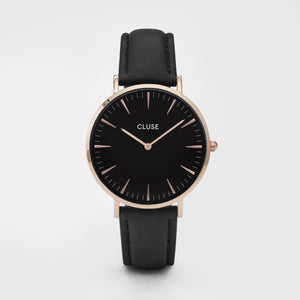 Boheme Leather Watch, Black & Rose Gold