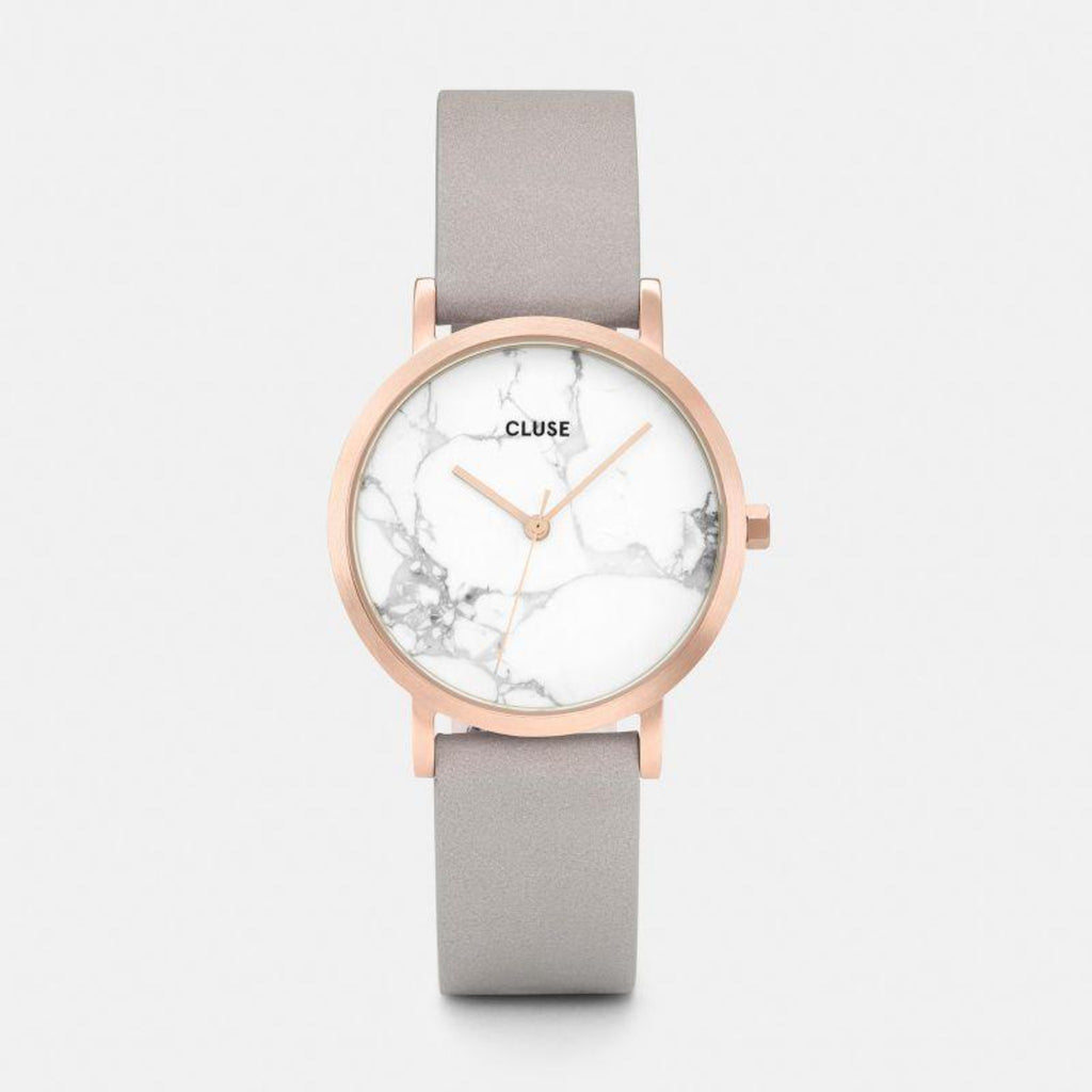 La Roche Petite Leather Watch, Grey & Rose Gold