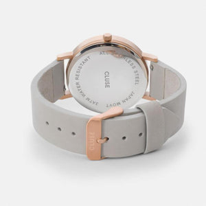La Roche Leather Watch, Grey & Rose Gold