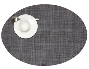Plynyl® Mini Basketweave Oval Placemat, Cool Grey