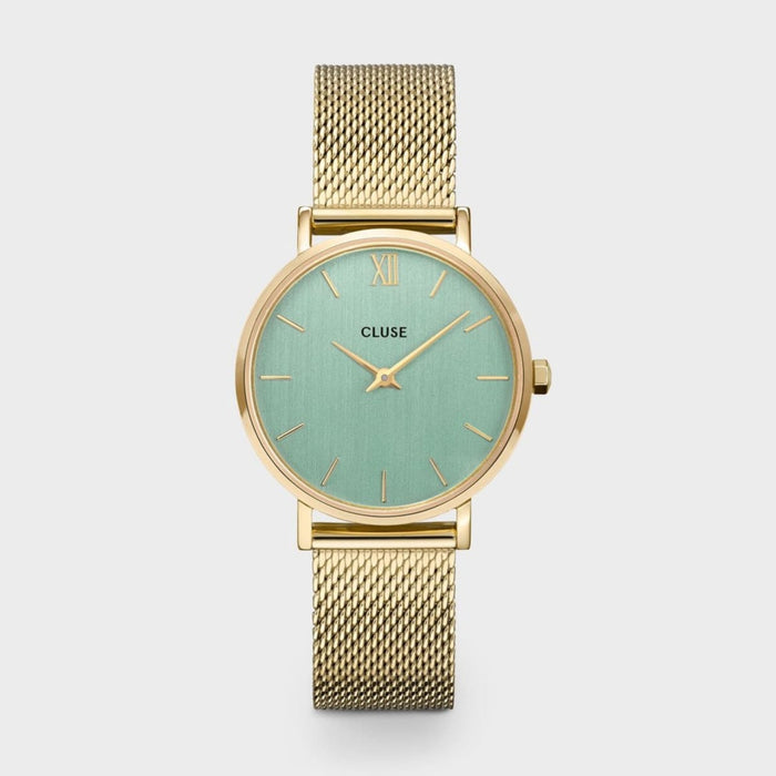 Minuit Mesh Watch, Gold & Green