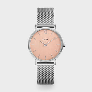 Minuit Mesh Watch, Silver & Rose Gold