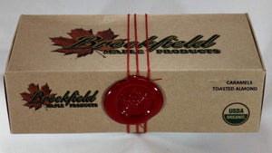 Honey Maple Caramel box with Brookfield Maple Products logo sealed with wax and string