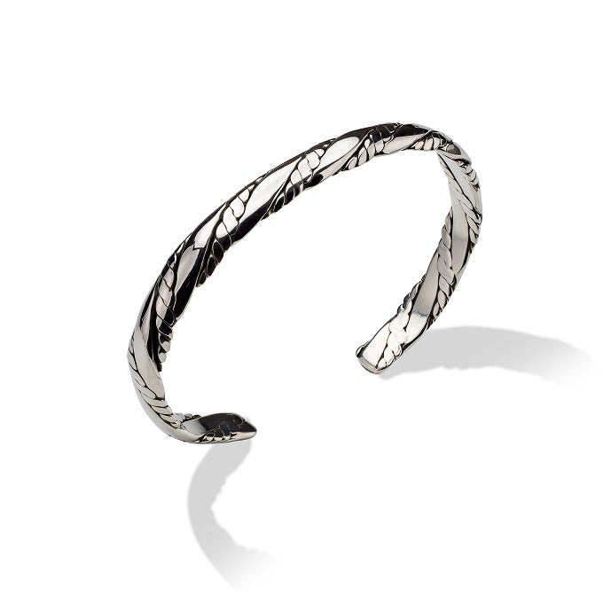 Sterling Silver Flattened Twisted Rope Cuff Bracelet