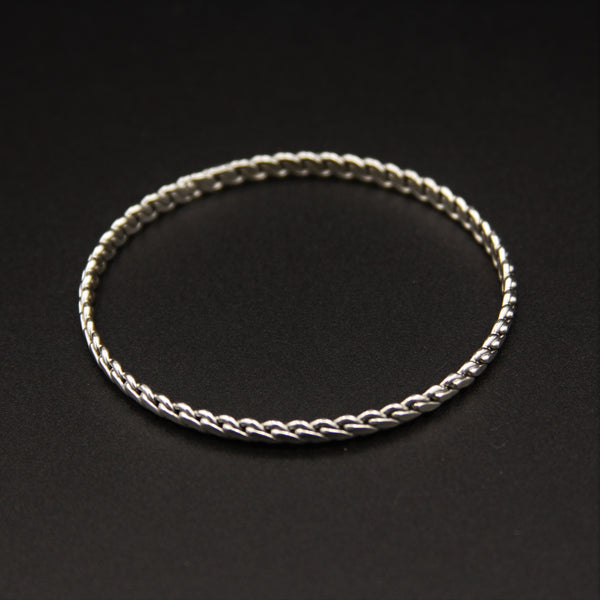 Sterling Silver Thin Braided Bangle Bracelet