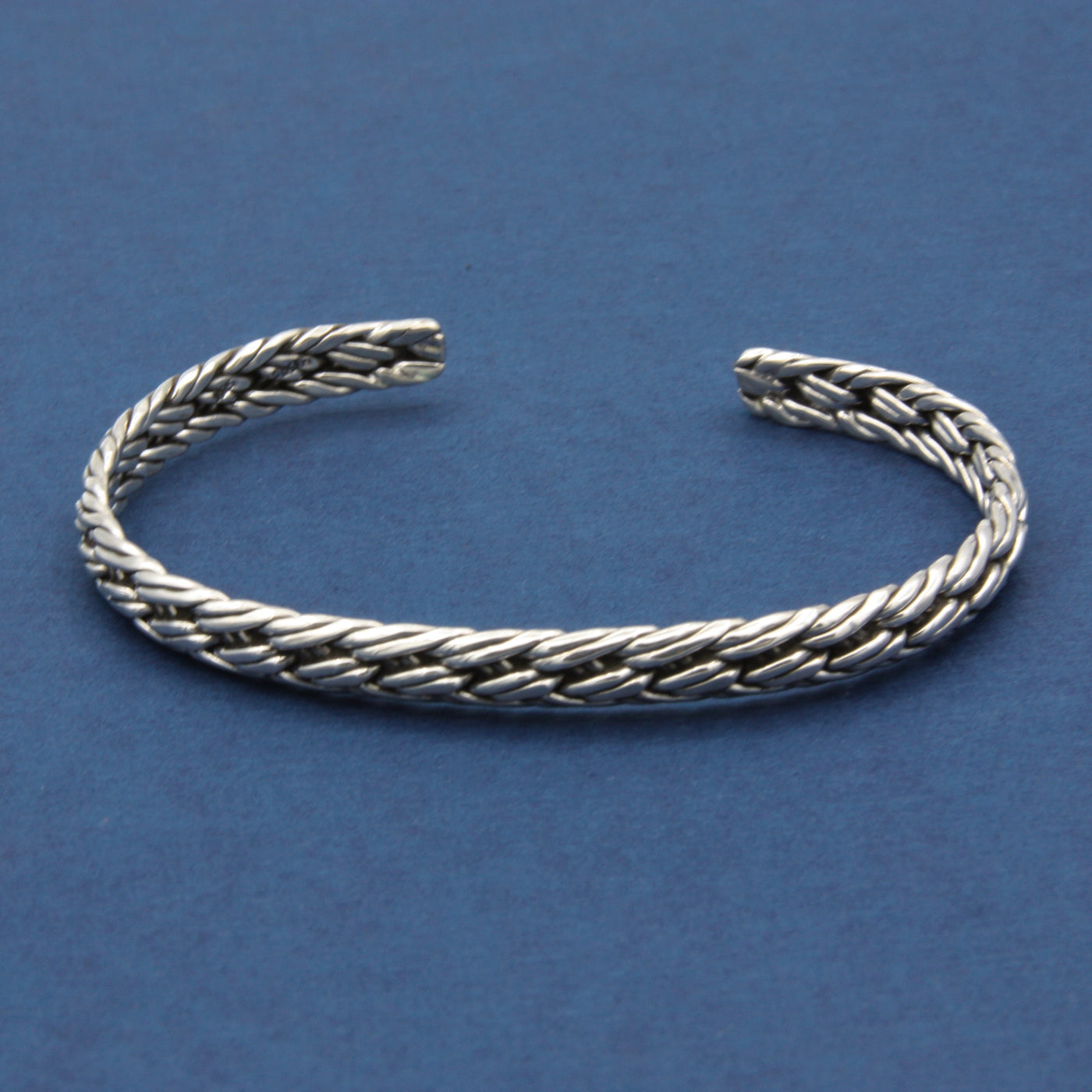 Sterling Silver Thin Braided Cuff Bracelet