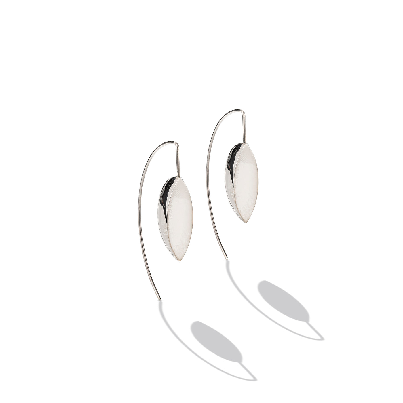 Sterling Silver Semi-Disk Long French Wire Earrings