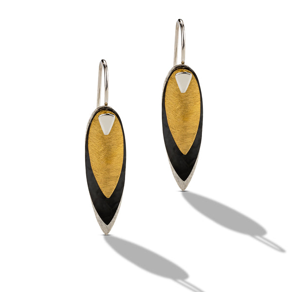 tri color drop earrings