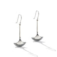 Sterling Silver Two Tone Long French Wire Earrings