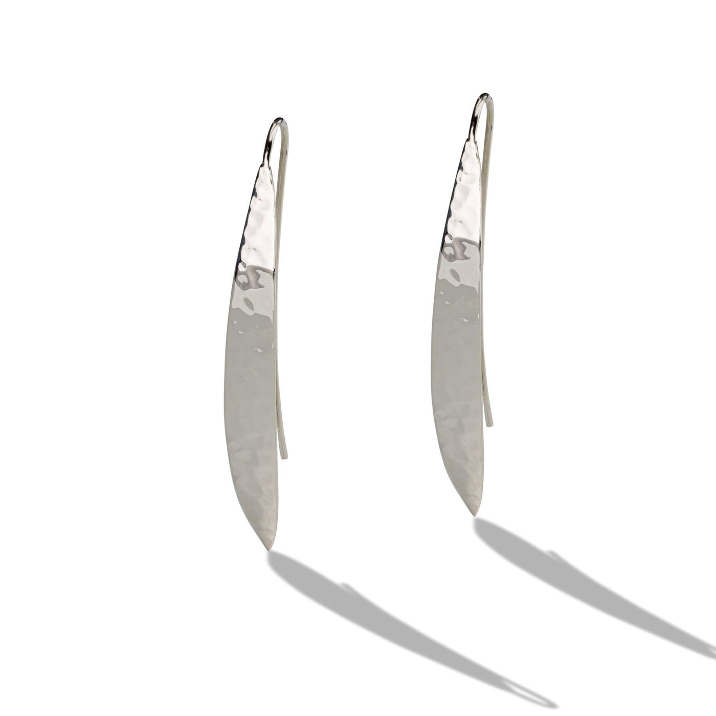 Sterling Silver Hammered Long French Wire Earrings