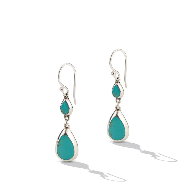 Sterling Silver Turquoise Double Drop Earrings