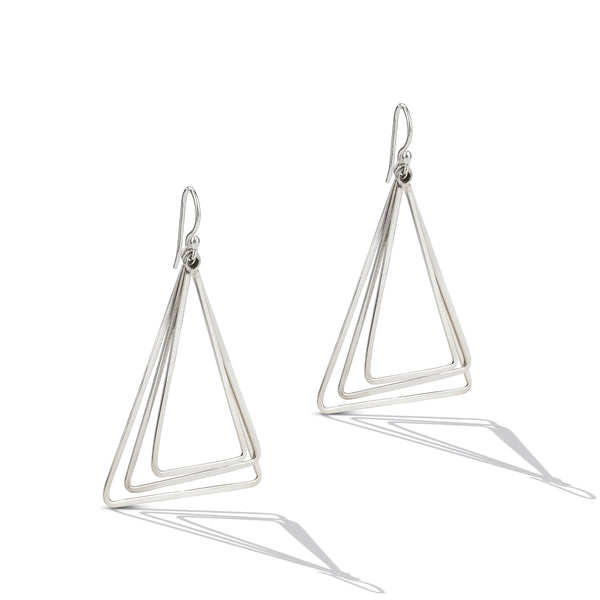 Sterling Silver Triangle Chandelier Drop Earrings