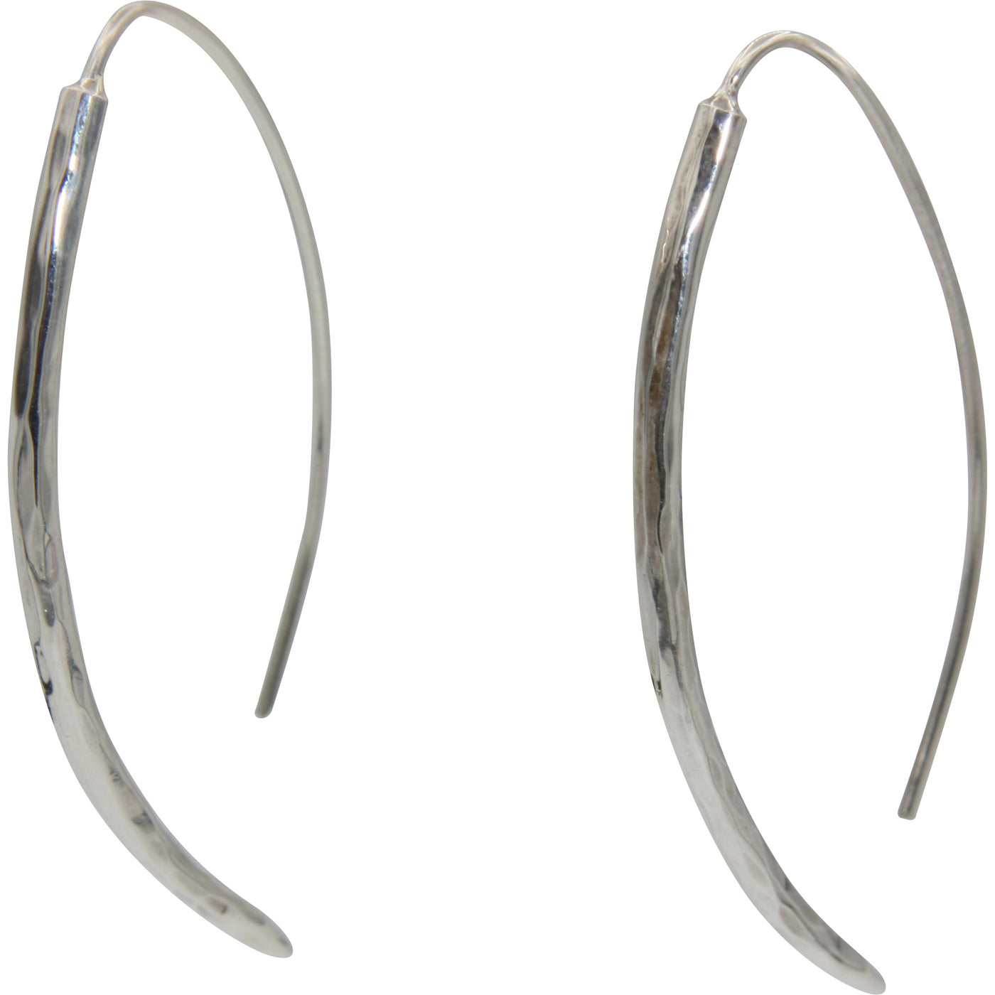 Sterling Silver Hammered Long Wire Earring