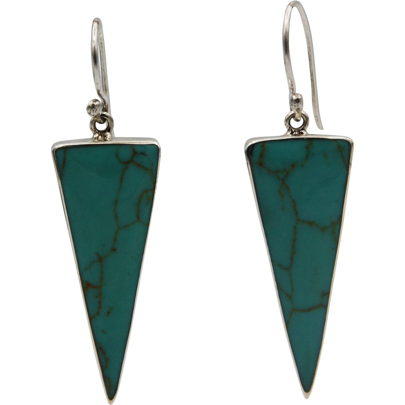 Sterling Silver Turquoise Triangle Drop Earrings