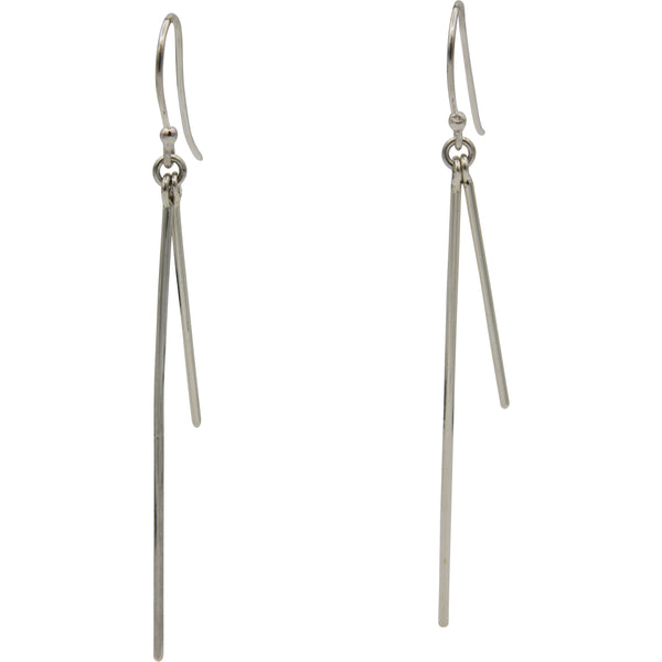 Sterling Silver Double Bar Drop Earrings