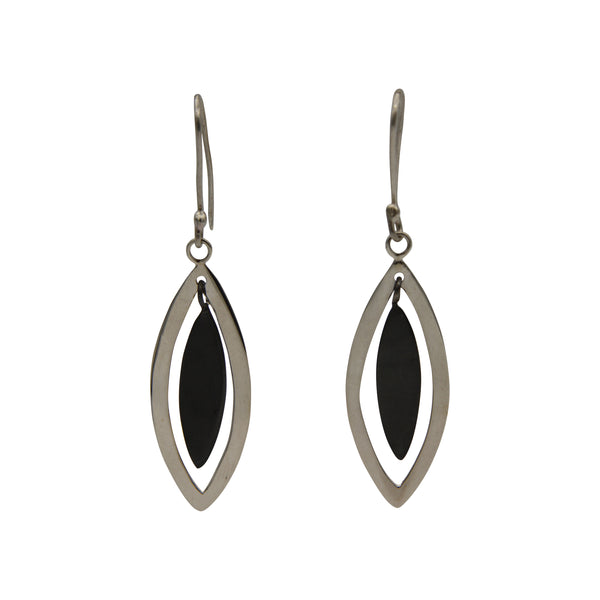 Sterling Silver Two-Tone Oxidized Almond Drop Earrings
