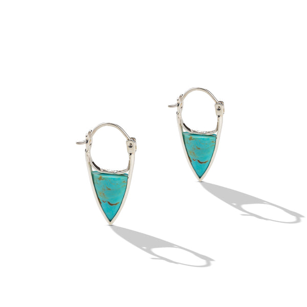 Sterling Silver Turquoise Triangle Hoop Earrings