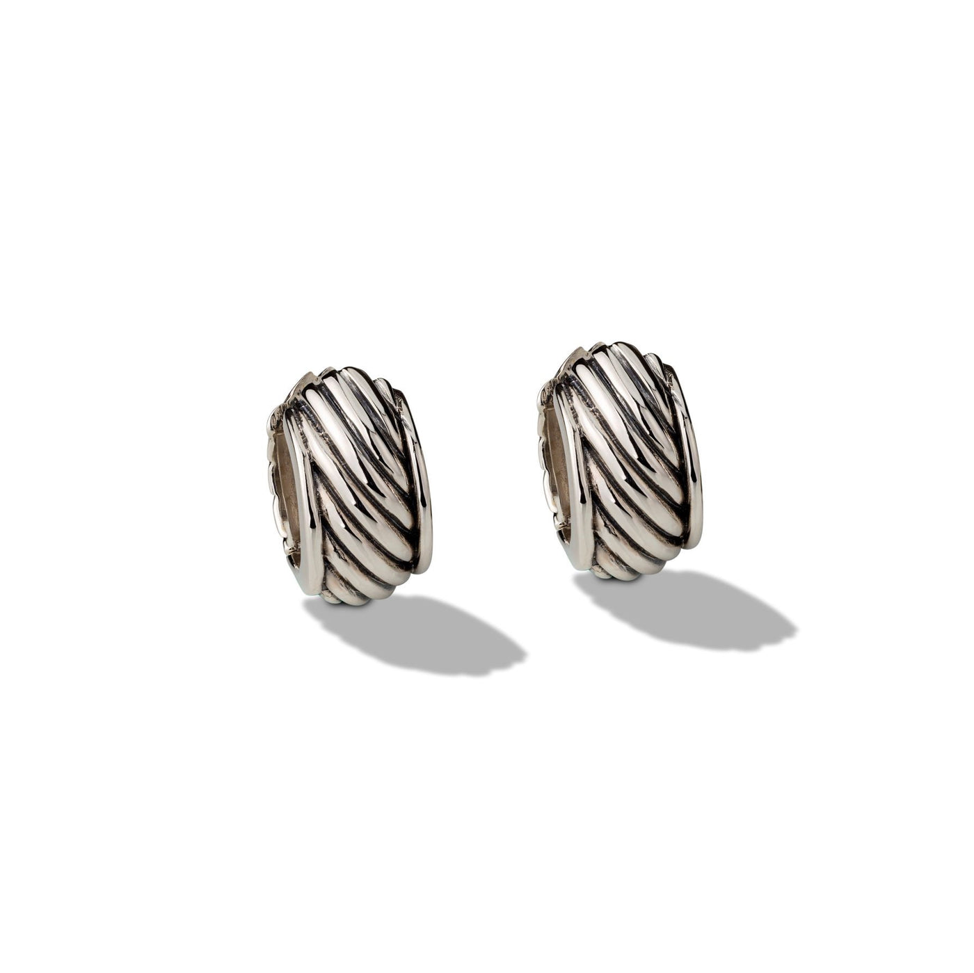 Sterling Silver Textured Huggie Earrings