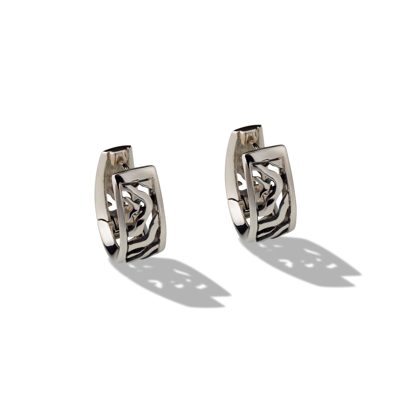 Sterling Silver Huggie Patterned Earrings