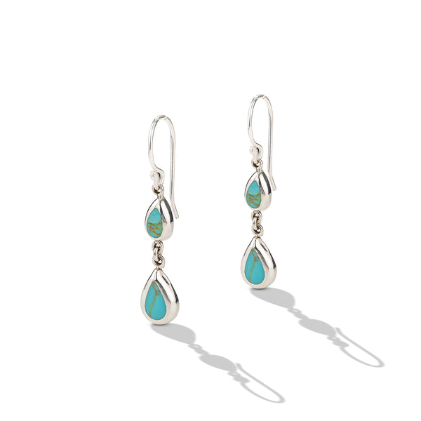 Sterling Silver Small Turquoise Drop Earrings