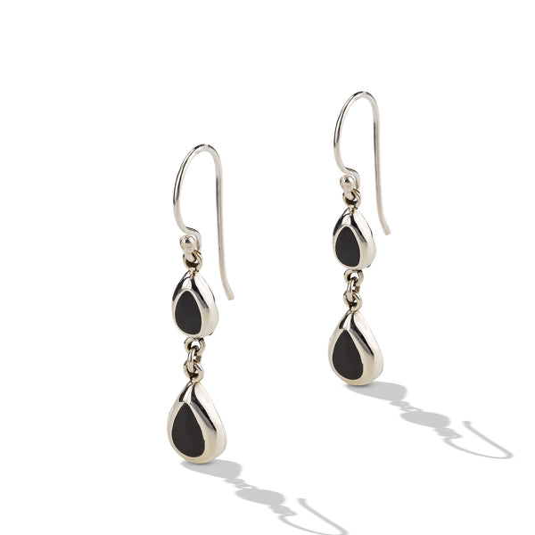 Sterling Silver Small Onyx Drop Earrings