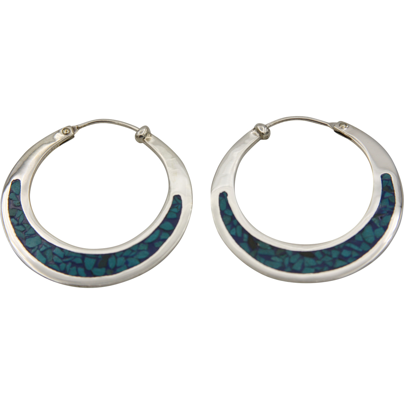 Sterling Silver Turquoise Chip Inlay Medium Hoop Earrings