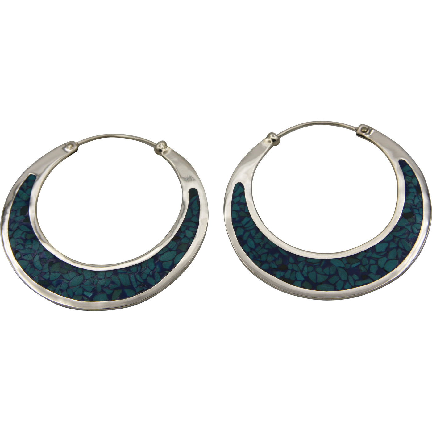 Sterling Silver Turquoise Chip Inlay Large Hoop Earrings