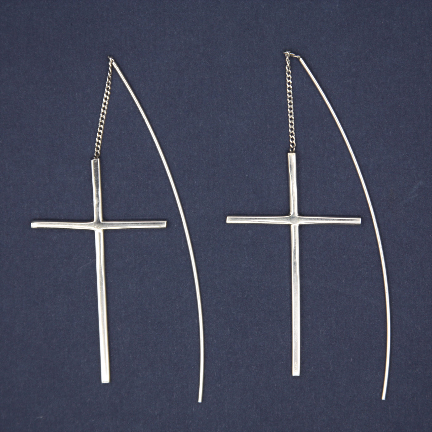 Sterling Silver Cross Threader Earrings