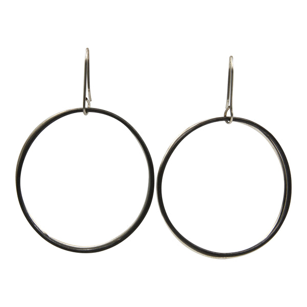 Sterling Silver Blackened Circle Drop Earrings