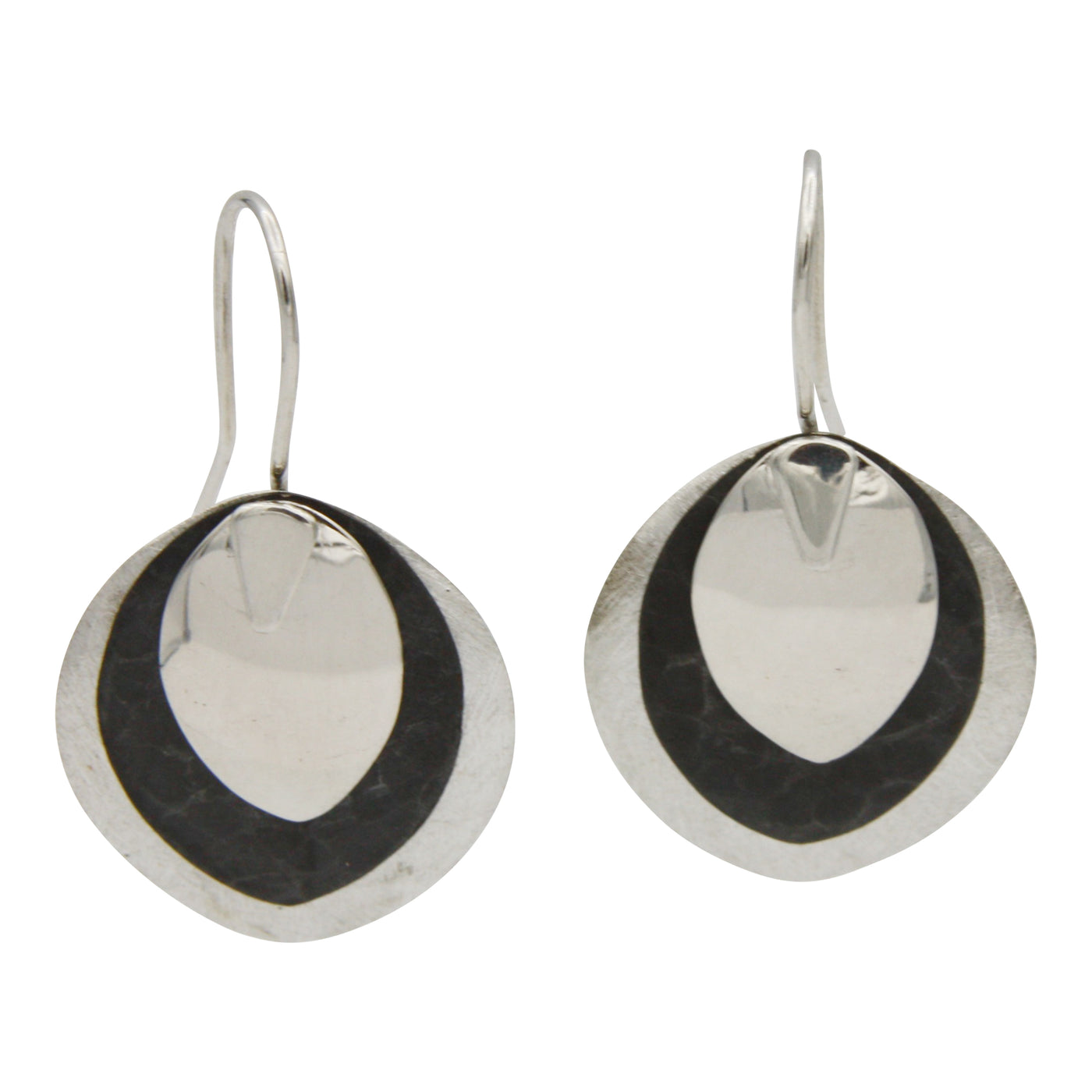 Sterling Silver Two-Tone Blackened Drop Earrings