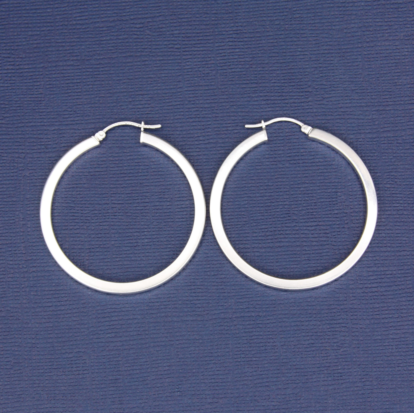 Sterling Silver Medium Squared Tube Hoop Earrings